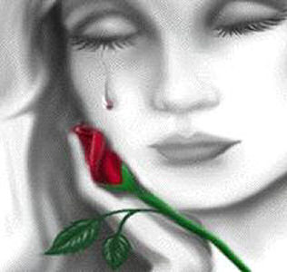 Face - rose and tear