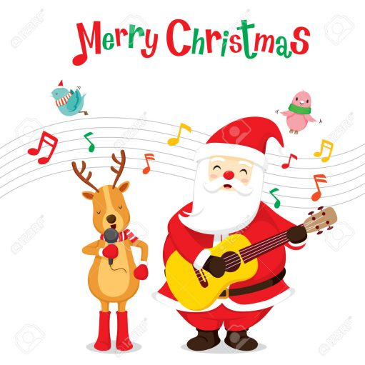Reindeer And Santa Claus Singing And Playing Guitar